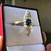 2.93ct Antique Diamond and Sapphire Navette Dinner Ring 17