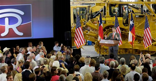 Description of . Texas Gov. Rick Perry speaks to supporters at Holt Cat, Monday, July 8, 2013, in San Antonio where he announced he will not seek reelection. A staunch Christian conservative, proven job-creator and fierce defender of states' rights, Perry has been in office nearly 13 years, making him the nation's longest-sitting current governor. (AP Photo/Eric Gay)