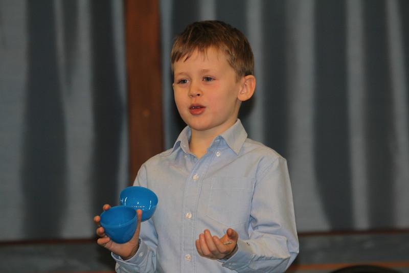 Aaron's speaking part of the Easter program 4/11