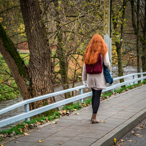 She caught my eye as she walked by. Her hair is the color of fall. Vilnius, Lithuania. November 2017.