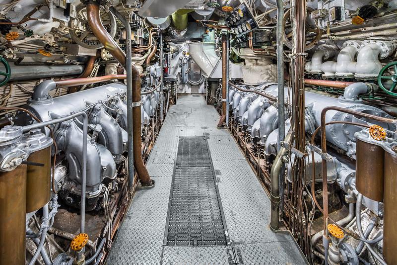 USS Cavalla (SS-244) Submarine Engine room, Galveston TX