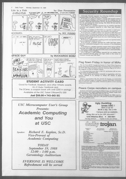 Daily Trojan, Vol. 107, No. 9, September 19, 1988