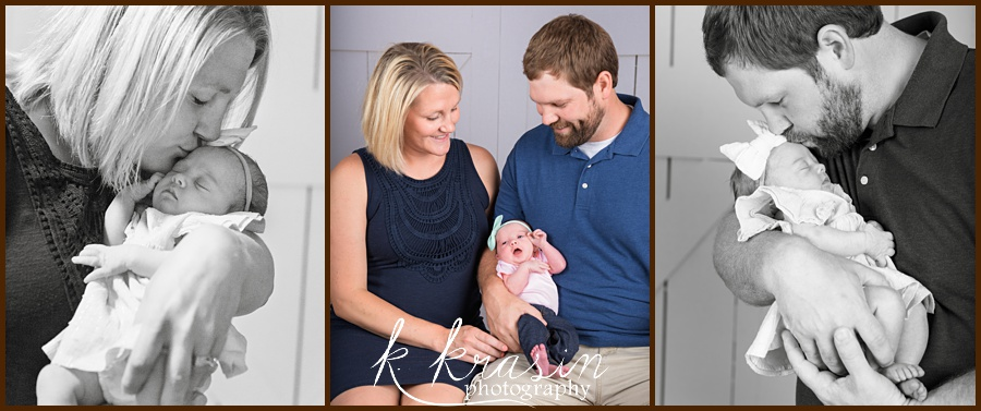 Collage of photos, left mom and newborn, center parents and newborn, right dad and newborn