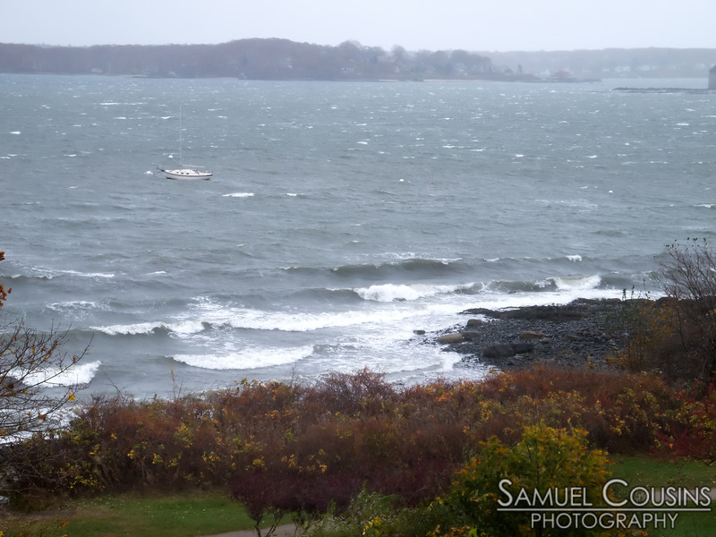 Looking down on Fish Point during Hurricane Sandy.