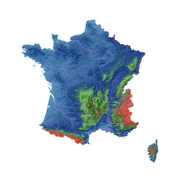 Elevation map of France