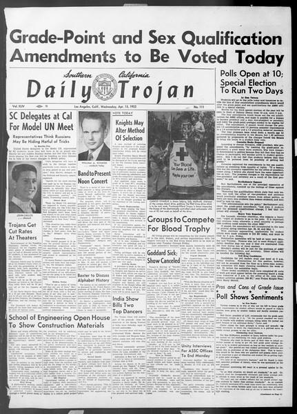 Daily Trojan, Vol. 44, No. 111, April 15, 1953