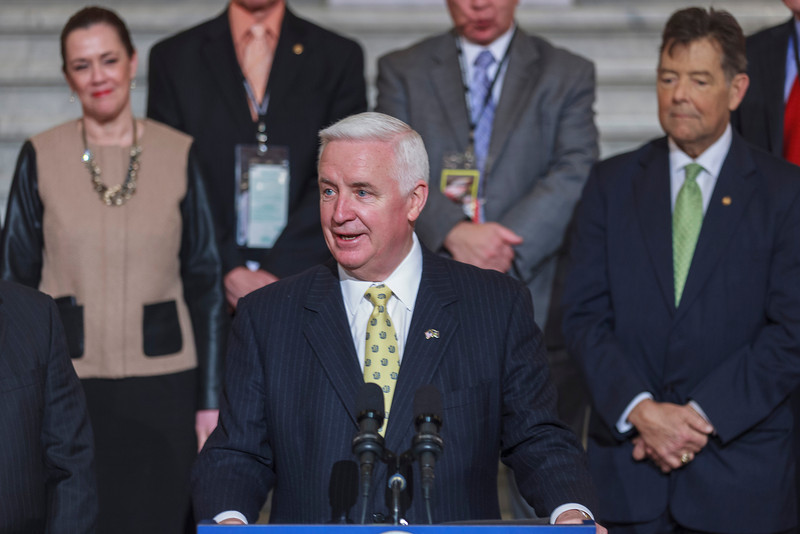 Governor Tom Corbett speaking at a press conference in the PA Capitol Rotunda on March 10, 2014.