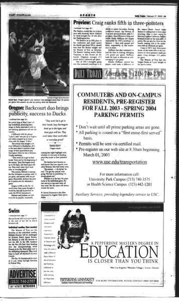 Daily Trojan, Vol. 148, No. 29, February 27, 2003