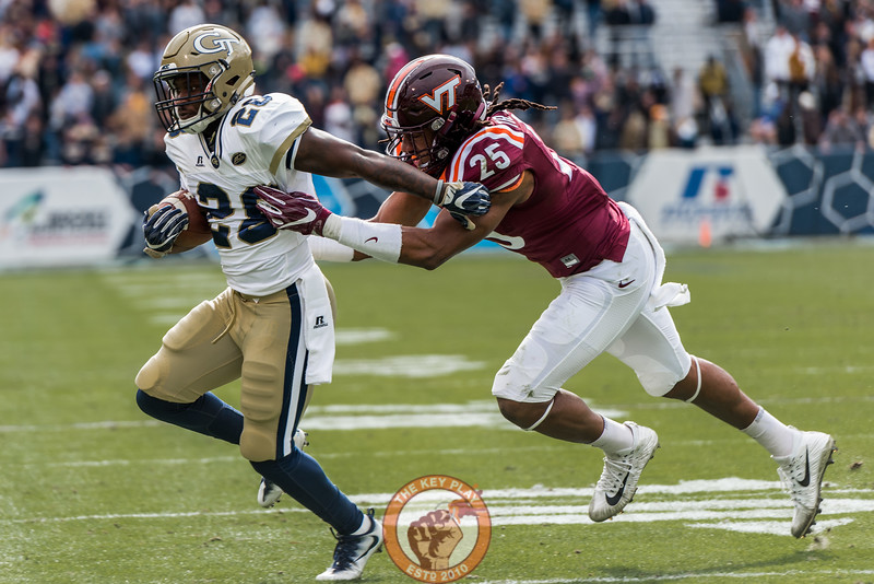 Tremaine Edmunds (25) tackles J.J. Green (28) in Saturday's matchup between Virginia Tech and Georgia Tech, Saturday, Nov. 11, 2017. (Special by Cory Hancock)