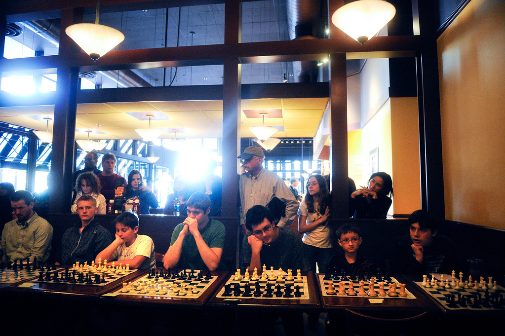 . DENVER CO: Nov. 2, 2013  Players from around Colorado await their turns during their games against grand chess master Timur Gareev who was playing 15 games at the same time while blindfolded.   (Photo By Erin Hull/The Denver Post)