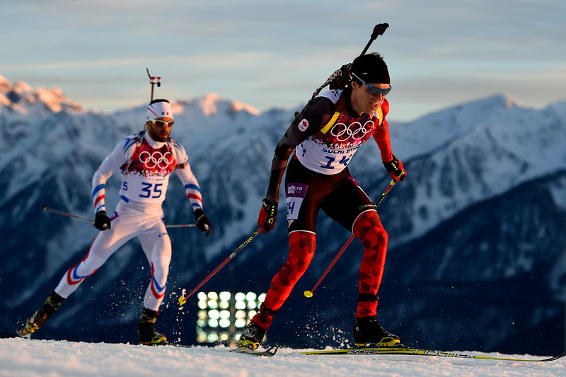 . Nathan Smith of Canada competes in the Men\'s Individual 20 km during day six of the Sochi 2014 Winter Olympics at Laura Cross-country Ski & Biathlon Center on February 13, 2014 in Sochi, Russia.  (Photo by Lars Baron/Getty Images)