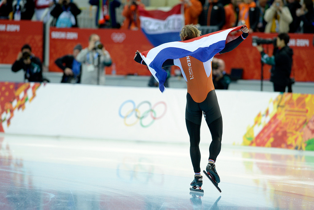 . Michel Mulder of the Netherlands reacts to capturing gold during the speed skating men\'s 500-meter at Adler Arena. Sochi 2014 Winter Olympics on Monday, February 10, 2014. (Photo by AAron Ontiveroz/The Denver Post)