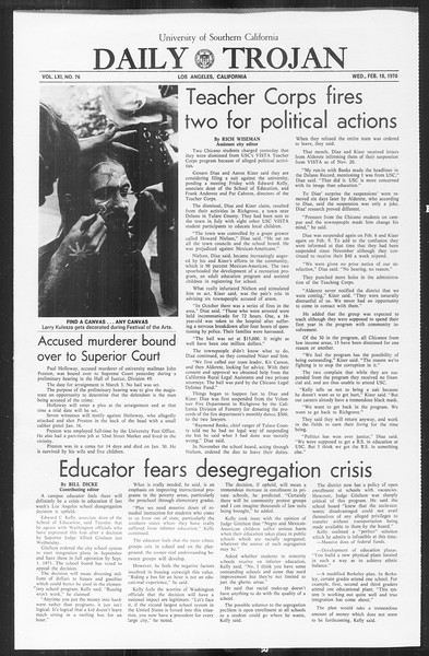 Daily Trojan, Vol. 61, No. 76, February 18, 1970