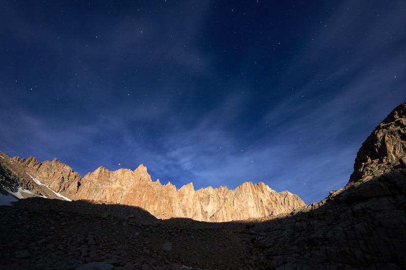 Moon light illuminates Mt. Whitney