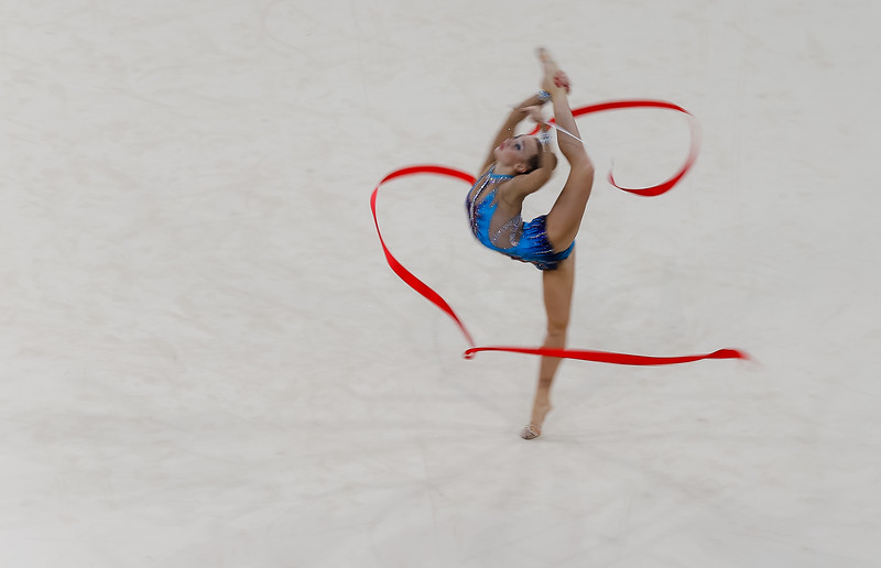Maria Bezzoubenko of Canad in the Rythmic Gymnastics Ribbon Final