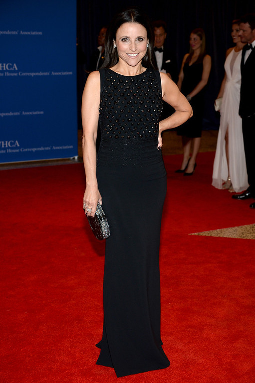 . ctress Julia Louis-Dreyfus attends the 100th Annual White House Correspondents\' Association Dinner at the Washington Hilton on May 3, 2014 in Washington, DC.  (Photo by Dimitrios Kambouris/Getty Images)