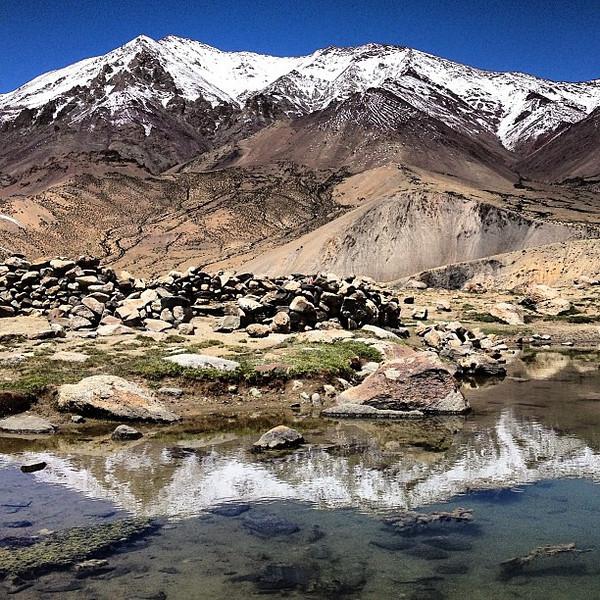Perfect weather yields the perfect lunch spot. Opposite Kang Yaze at Tsokar Lake. Day 5, Markha Valley trek #Ladakh