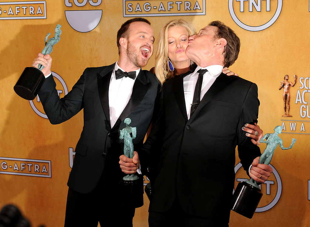 . Aaron Paul, Anna Gunn and Bryan Cranston, backstage at the 20th Annual Screen Actors Guild Awards  at the Shrine Auditorium in Los Angeles, California on Saturday January 18, 2014 (Photo by John McCoy / Los Angeles Daily News)