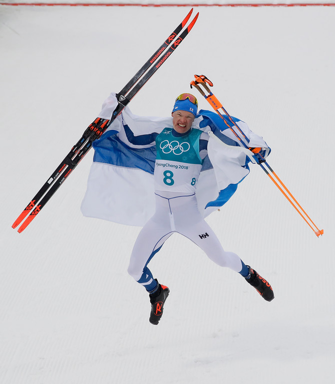 . Iivo Niskanen, of Finland, celebrates after winning the gold medal in the men\'s 50k cross-country skiing competition at the 2018 Winter Olympics in Pyeongchang, South Korea, Saturday, Feb. 24, 2018. (AP Photo/Kirsty Wigglesworth)