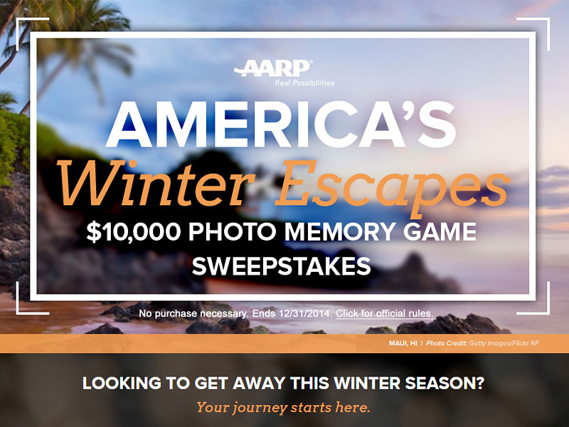Enter the AARP America's Winter Escapes Sweepstakes