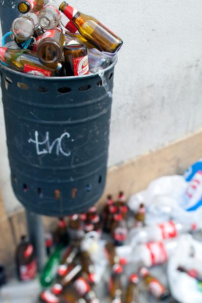 Beer bottles after a Saturday night, Seville, Spain