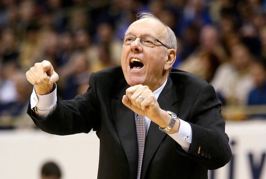 . Syracuse coach Jim Boeheim yells to his team during the first half of an NCAA college basketball game against Pittsburgh on Wednesday, Feb. 12, 2014, in Pittsburgh. Syracuse won 58-56. (AP Photo/Keith Srakocic)