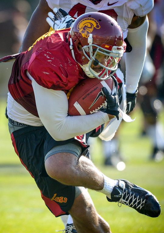 . USC�s Jalen Cope-Fitzpatrick runs the ball during spring practice at USC Tuesday, April 15, 2014.  (Photo by David Crane/Los Angeles Daily News.)