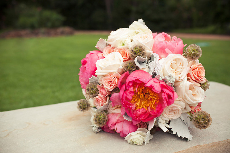 Courtesy of Yellow Skinny Photos....Bouquet of peonies, garden roses, scabiosa pods, ranunculus, spray roses & dusty miller leaves