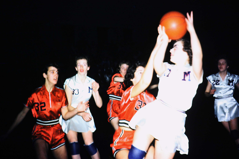 1956-012 - Judy Speke in back - Jerri Parks with ball