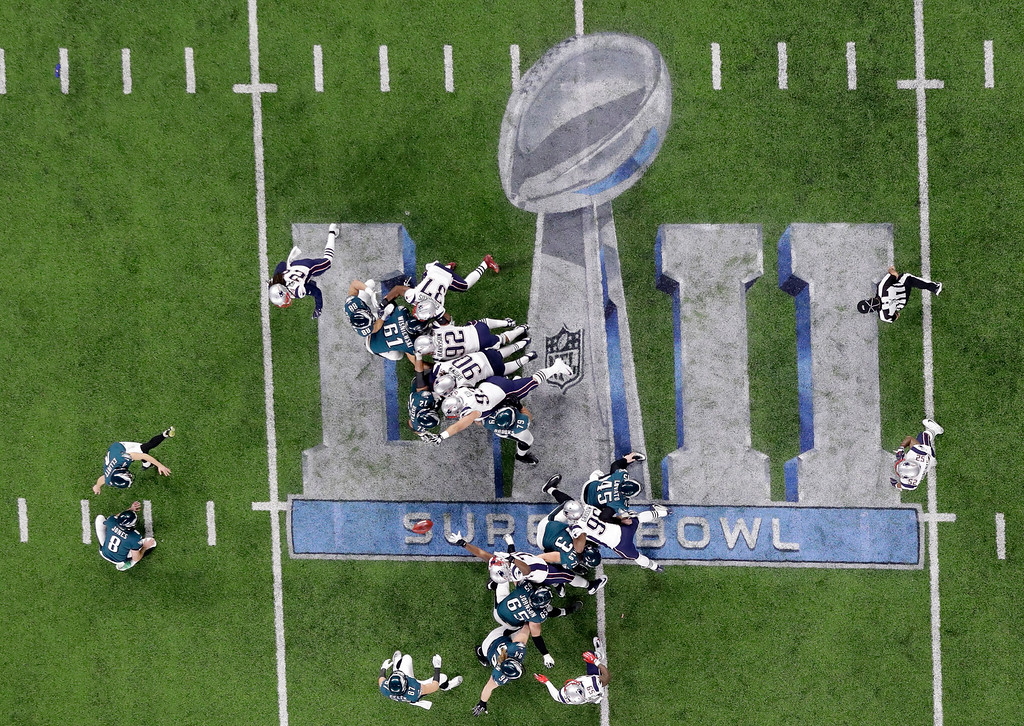 . The Philadelphia Eagles kick a field goal against the New England Patriots during the second half of the NFL Super Bowl 52 football game Sunday, Feb. 4, 2018, in Minneapolis. (AP Photo/Eric Gay)