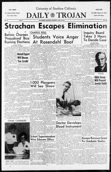 Daily Trojan, Vol. 55, No. 103, April 22, 1964