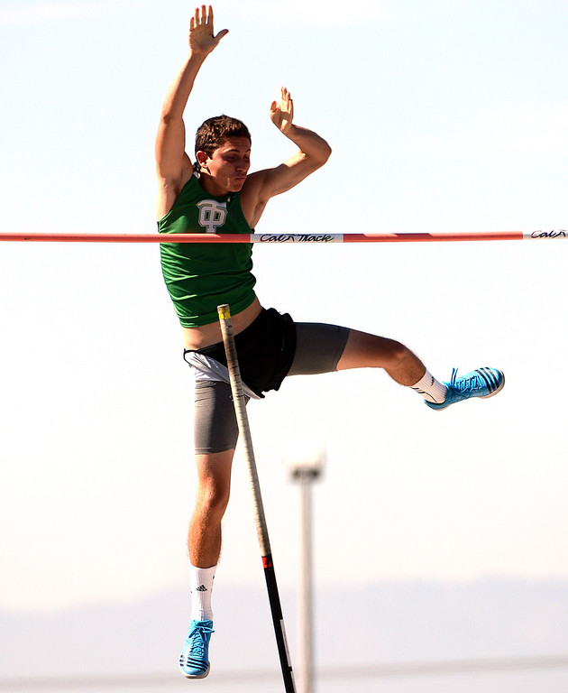 . Thousand Oak\'s Luigi Colella competes in the pole vault during the CIF-SS Masters Track and Field meet at Falcon Field on the campus of Cerritos College in Norwalk, Calif., on Friday, May 30, 2014.   (Keith Birmingham/Pasadena Star-News)