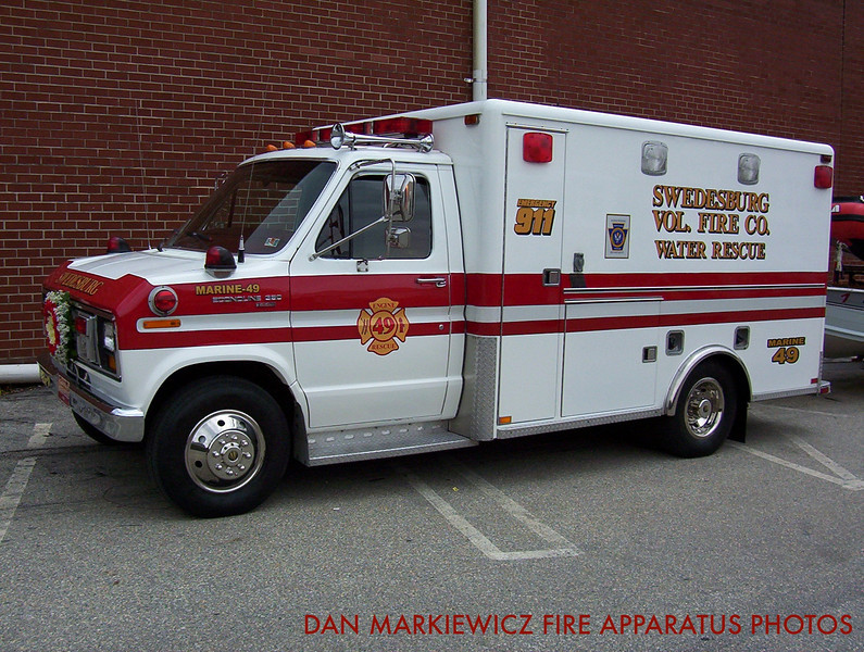 SWEDESBURG VOLUNTEER FIRE CO. X-MARINE 49 1984 FORD/HORTON WATER RESCUE UNIT