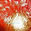 Blaze red white fireworks fourth of July celebration set the evening sky ablaze over White Lake Wisconsin (USA WI White Lake)