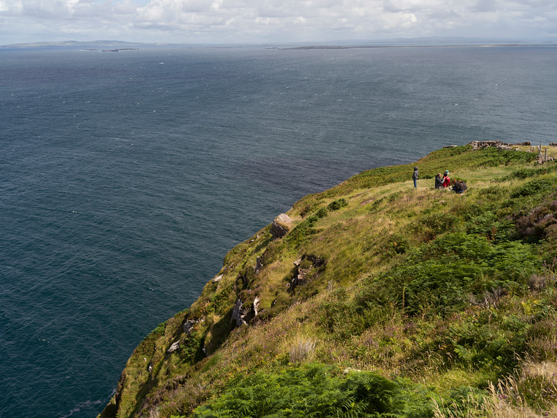 Hikers on a hill, Brandon Point, Castlegregory, Dingle Peninsula, County Kerry, Ireland