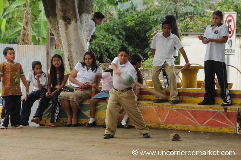 Boy Playing Baseball - Perquin, El Salvador