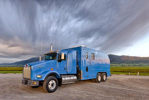 Blue Wireline Truck