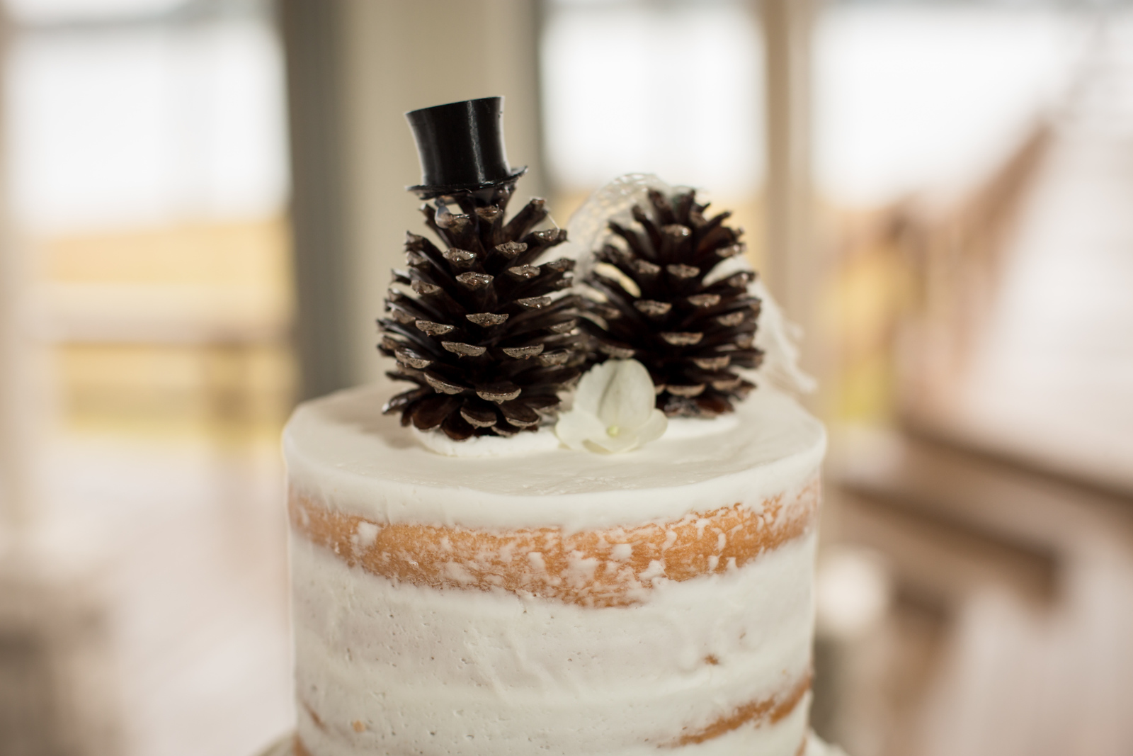pine cones used as wedding cake toppers atop a plain white buttercream wedding cake