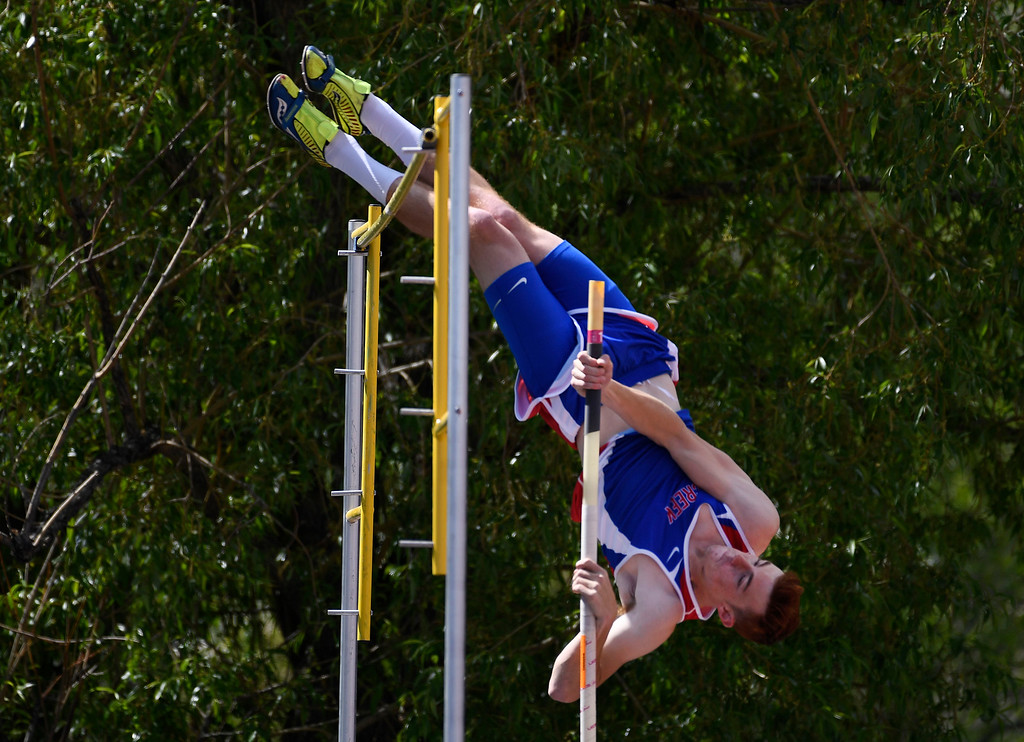 . LAKEWOOD, CO - May 19: Connor Roberts, Cherry Creek, clears the bar on his way to winning the boys 5A pole vault competition at the Colorado State High School Track and Field Championships at Jeffco Stadium May 19, 2016. (Photo by Andy Cross/The Denver Post)