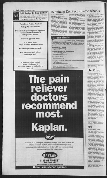 Daily Trojan, Vol. 132, No. 27, October 07, 1997
