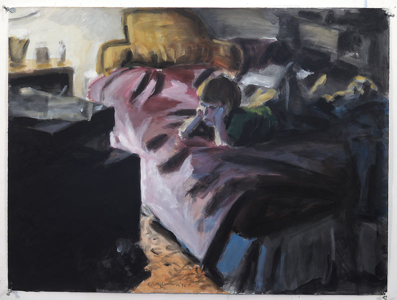 Child Watching Television; acrylic on paper, 22 x 30 in, 1990