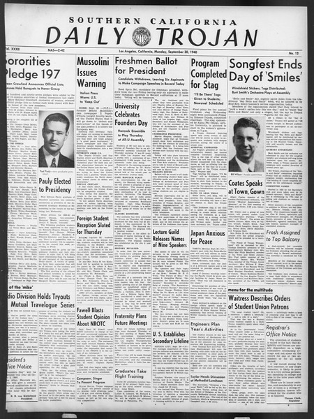 Daily Trojan, Vol. 32, No. 12, September 30, 1940