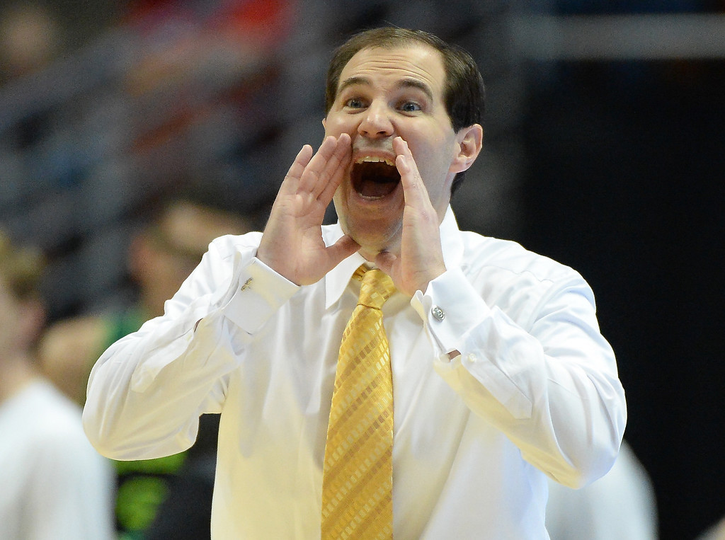 . Head coach Scott Drew of the Baylor Bears calls out in the first half while taking on the Wisconsin Badgers during the regional semifinal of the 2014 NCAA Men\'s Basketball Tournament at the Honda Center on March 27, 2014 in Anaheim, California.  (Photo by Harry How/Getty Images)