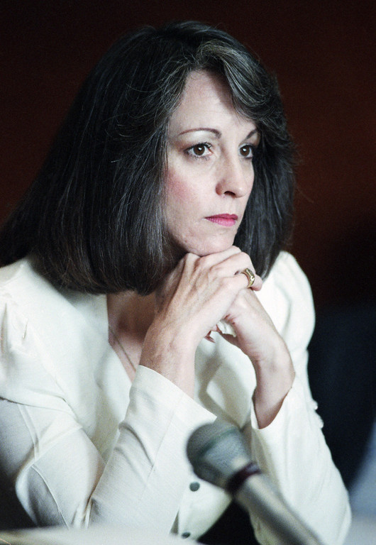 . Susan Atkins, former member of the Charles Manson clan, who was convicted of murder in the Tate-LaBianca killings, listens during parole hearing at the California Institution for Women in Chino, Calif., Dec. 20, 1989. Her parole was denied unanimously. (AP Photo/Alan Greth)