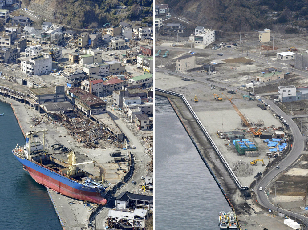 . This combination photo taken April 10, 2011, left, and Friday, March 1, 2013, shows an aerial view of Kamaishi Port in Kamaishi, Iwate prefecture.  Monday, March 11, 2013 will mark the 2-year anniversary of the earthquake and tsunami which devastated the northeastern Pacific coast of Japan.  Progress in rebuilding from the mountain of water that thundered over coastal sea walls, sweeping entire communities away and killing nearly 19,000 people, is mainly measured in barren foundations and empty spaces. Clearing of forests on higher ground to make space for relocation of survivors has barely begun. (AP Photo/Kyodo News)