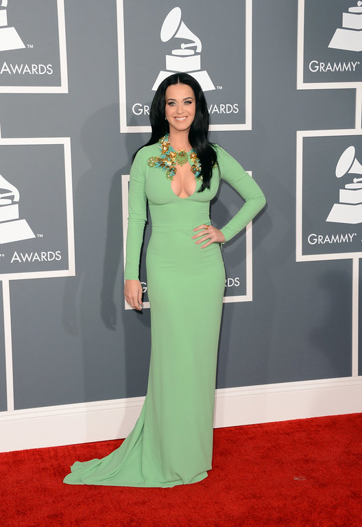 . Singer Katy Perry arrives at the 55th Annual GRAMMY Awards at Staples Center on February 10, 2013 in Los Angeles, California.  (Photo by Jason Merritt/Getty Images)