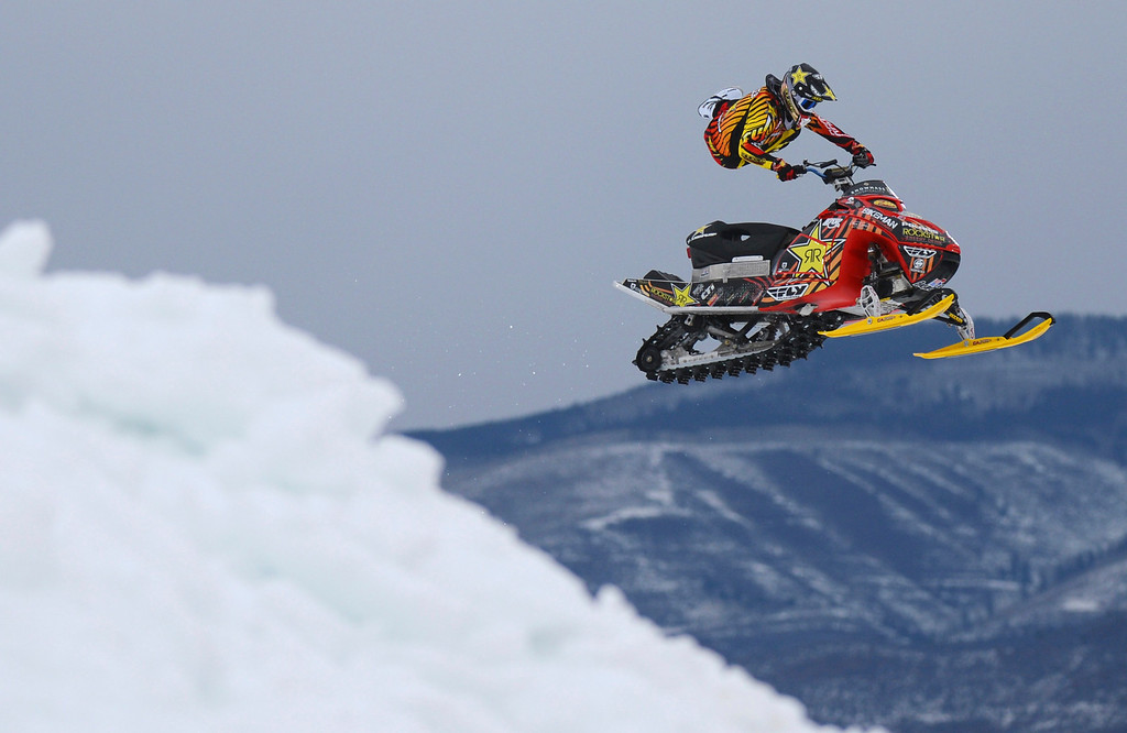 . ASPEN, CO. - JANUARY 24:  Caleb Moore practices for Snowmobile Freestyle, January 24, 2013,during the 2013. Winter X Games in Aspen. Caleb will compete, along with his brother Colten Moore, in the Snowmobile Freestyle Finals. (Photo By RJ Sangosti / The Denver Post)