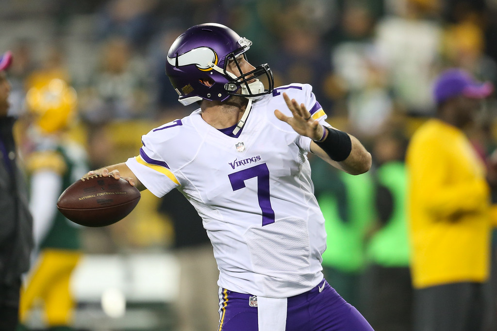 . GREEN BAY, WI - OCTOBER 2: Quarterback Christian Ponder #7 of the Minnesota Vikings warms up prior to the NFL game against the Green Bay Packers on October 02, 2014 at Lambeau Field in Green Bay, Wisconsin. (Photo by John Konstantaras/Getty Images)