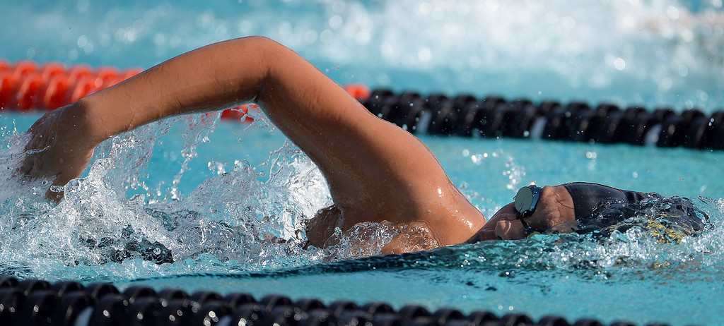. Northview\'s Victoria Pena competes in the 200 yard freestyle consolation during the Division 4 CIF Southern Section Swimming Championships in the Riverside Aquatics Complex at Riverside City College in Riverside, Calif., on Friday, May 16, 2014.  (Keith Birmingham/Pasadena Star-News)