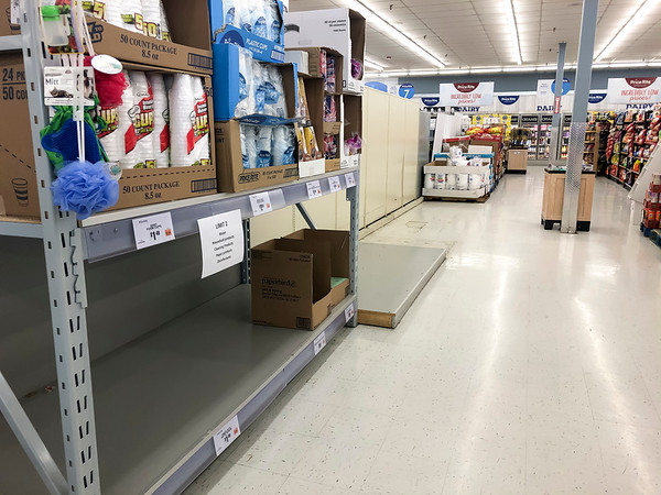 03/16/20 Wesley Bunnell | StaffrrA mostly empty aisle in Price Rite on Columbus Blvd on Monday March 16, 2020 with the few remaining paper products available.